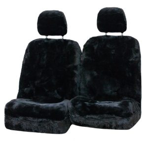 Diamond 33mm Size 30 With Separate Head Rests 6 Star Airbag Compatible Sheepskin Seat Covers Black