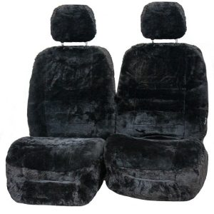 Diamond 33mm Size 30 With Seperate Head Rests 6 Star Airbag Compatible Sheepskin Seat Covers Gunmetal