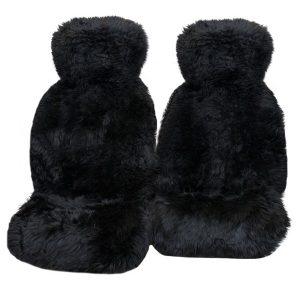 Ultra Premium 6 Star Long Wool Hooded Seat Covers Black