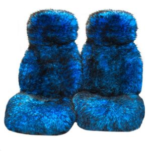 Ultra Premium 6 Star Long Wool Hooded Seat Covers Blue With Black Tips
