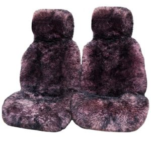 Ultra Premium 6 Star Long Wool Hooded Seat Covers Purple/Pink With Black Tips