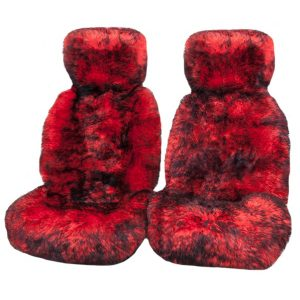 Ultra Premium 6 Star Long Wool Hooded Seat Covers Red With Black Tips