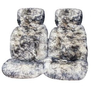 Ultra Premium 6 Star Long Wool Hooded Seat Covers White With Black Tips